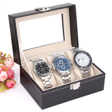 2014 New and Fashion 3 Grid Black Leather Jewelry display casket / Jewelry organizer Wristwatch box /case for Jewlery gift box()