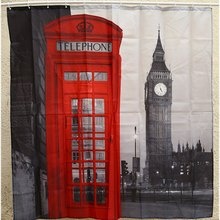 Creative Waterproof 3D London Big Ben Shower Curtain Bathroom Product Polyester Telephone Booth Pattern with 12 Hooks Bath Decor