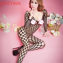 Sexy Lingerie Hollow out Transparent Body Suit Floral Open Crotch Fish Net Mesh Bodystockings Bodysuits Erotic Underwear Apr13
