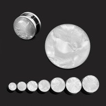 pair selling white sea shell stainless steel screw ear piercings body jewelry plugs tunnels from 8mm to 25mm Free Shipping