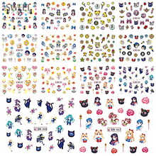 SWEET TREND 12 Designs In One Set Colorful Cut Cartoon Girl Nail Tips Watermark Stickers Temporary Tattoo DIY Decal BEBN457-468(China)