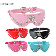 SYDZSW New Cat Dog Collar Fashion Plum Crystal Diamond Pet Grooming Collar Leather Chihuahua Dog Collar Puppy Leads 35*1.2cm(China)