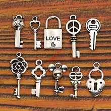 Mixed Tibetan Silver Heart Key Lock Love Peace Charms Pendants Jewelry Making Diy Charm Crafts Jewelry Accessories Handmade