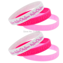 300pcs Breast Cancer Pink Ribbon Awareness believe hope wristband silicone bracelets free shipping by FEDEX(China)