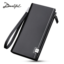 DEELFEL 2017 Luxury Brand Men Wallets Long Men Purse Wallet Male Clutch Genuine Leather Wallet Men Business Male Wallet Coin