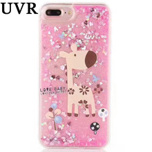 UVR Sweet Cupcake Deer Fawn Fine Elephant Glitter Dynamic Quicksand Case Coque Cover for iPhone 6 6S 7 Plus Fundas Capa Carcasa