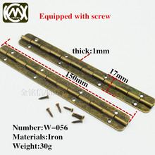10pc/lot 17*150mm 180Degree long-term supply of furniture hinge flat hinge,home hardware hinges,wooden box hinges ,with screw(China)