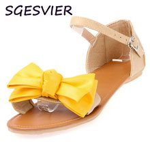SGESVIER  buckles Red yellow blue three color Color matching Wax skin Bowknot adornment woman sandels shoes  size 34-39 XT113
