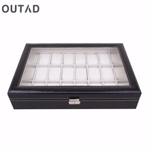 OUTAD 24 Grid Watch Casket Box Glass Black Leather Wristwatch Storage Case Organizer Classical Holder Foam Pillow Transparent