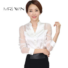 Mrs win 2017 summer OL shirts long sleeve White satin blouses women V-neck  tops fall white mesh formal lady work wear plus size