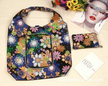 (100pcs/lot) high quality  flower printed reusable nylon foldable shopping bag with zipper