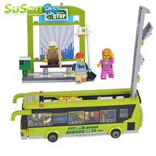 SuSenGo School Bus Building Blocks Bus Station Model Figures Mini Car Children Gift Kids Educational Toys Compatible with Lepin(China)