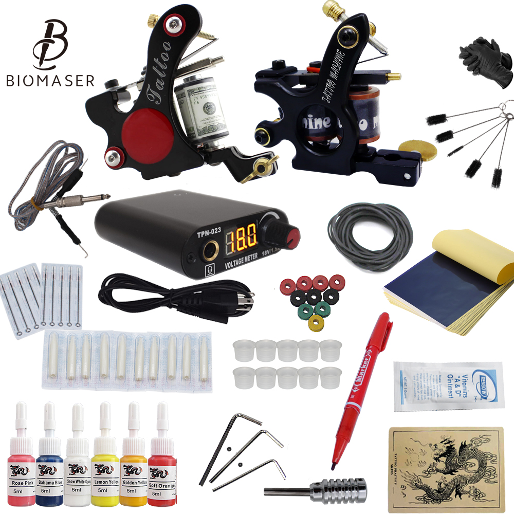 Top Free Ship Complete Tattoo Kit Tattoo Coils Machine 6 Inks Power Supply Kits USA Ink Set 2018 Newest for Beginer<br>