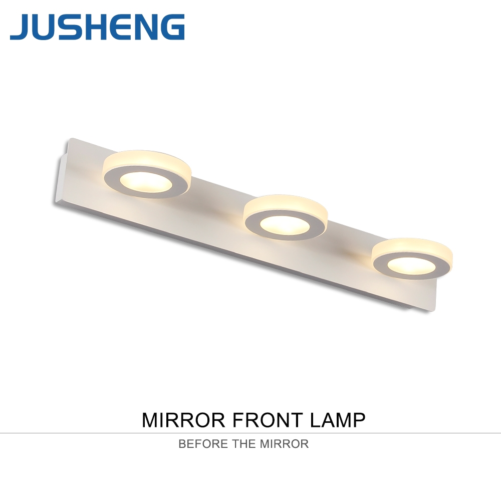 JUSHENG 3-lights Bathroom LED Mirror Light with waterproof driver White Acrylic LED Wall Lamps Indoor