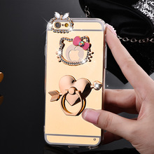 i6/6s Luxury Glitter Hello kitty case For Apple iphone 6 6s 6plus 7 7plus TPU Diamond Mirror phone case cover fundas Rose Gold