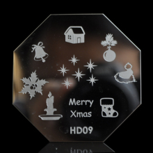 Merry Christmas Nail Art design Plate Metal nail stamping printing templates Bell Candy Gift Shocking D09