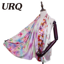[URQ]Spring Unique Design Flower Stype Two Sides Printing Woman Long Soft Satin Silk Scarves Shawl S7A16785