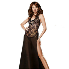 Buy Sexy Lingerie Sexy Underwear Long Dress Sleepwear Plus Size 6XL Lace Nightgown Women Nightwear Lady Underwear Dress+G-string