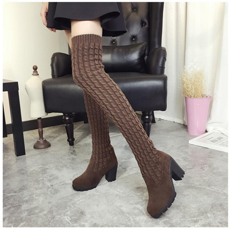 KEBEIORITY Fashion Women Boots 2017 Autumn Winter Boots Thick High Heels Long Boots Female Brown Black Women High Sock Boots<br>