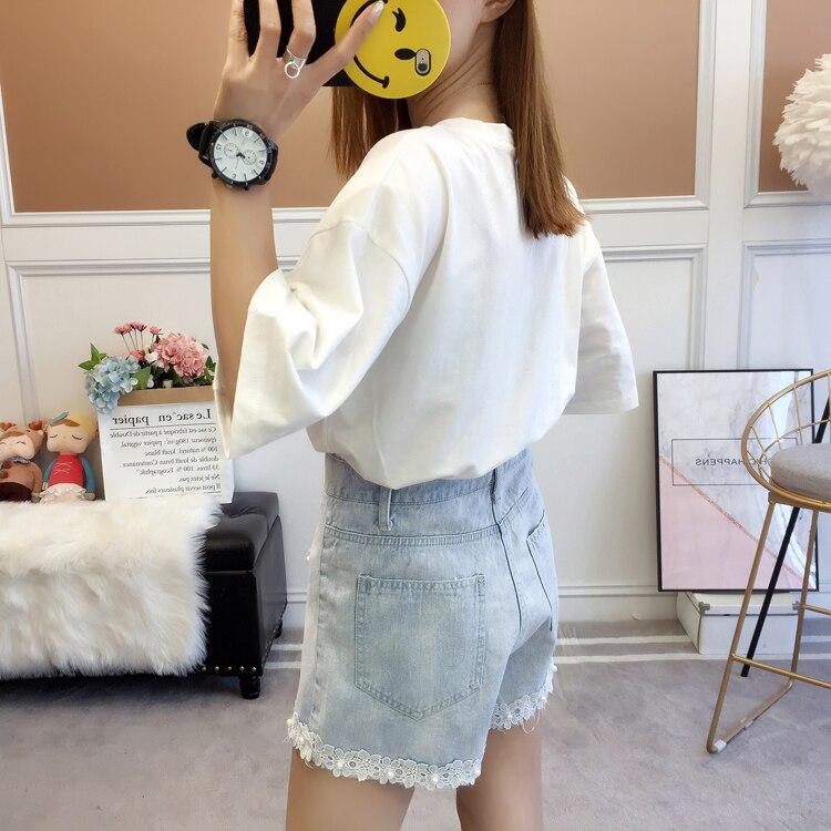 Woman Summer Denim Shorts Light Blue Wash Jeans Short Women Beaded Denim Bottoms Girls Plus Size Street Look Lace Hem Jeans Short 5XL 4XL 3XL XL (12)
