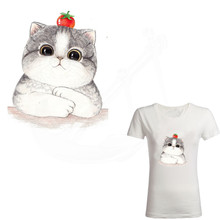 Hot Lovely Cat Heat Transfer 20*16.4cm Patch Ironing Stickers Iron On Patches A-plus Washable Appliques(China)