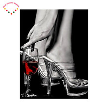 5d diy diamond embroidery diamond painting cross stitch drill resin pattern strass portrait girl High-heeled shoes red wine