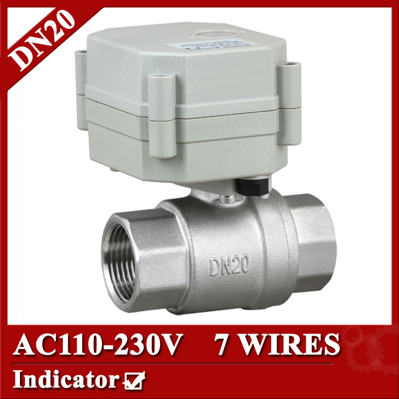 3/4  AC110V-230V Electric Valve 7 wires(CR704 ), DN20 electric ball valve, flow control valve for BREWING equipment<br>
