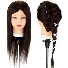 22 Inch Real Human Hair Hairdressing Head Hairstyles Doll Head of Training Mannequin Head with Clamp Styling Training Head(China)