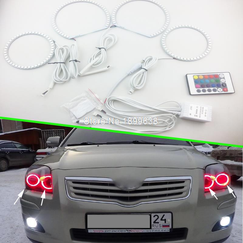 4pcs Super bright 7 color RGB LED Angel Eyes Kit with a remote control car styling For Toyota Avensis T250 2003 - 2009<br><br>Aliexpress