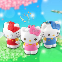 New  Kitty cat LED flashlight key chain car lovers gift phone bag pendant ornaments Creative toys Novelty Lighting