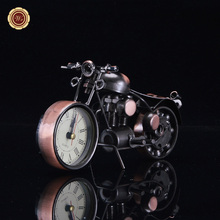 WR Copper Handmade DIY Motorcycle Table Clock Wall Clock Desktop Metal Models Race Car Boys Toy Christmas Gifts Collection