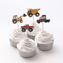 24pcs/lot City Construction Tool Cart Theme Cartoon Party Supplies Cupcake Topper Kids Boy Birthday Party Decorations(China)