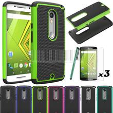 New Dual Layer PC+Silicone Armor Shockproof Case Cover With Films+Stylus For Motorola Moto X Play XT1562 XT1563/Droid Maxx 2 @