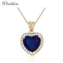 Ocean Heart Peach Dark Blue CZ Accent With CZ Suspension Pingente Pendants Necklace Women Gold Color Jewelry Collares Undertale
