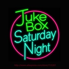 Jukee Box Saturday Night Neon Sign light Car Neon Bulbs signage Vintage neon signs Business Real Glass Tube Board Bar Sign 24x24(China)