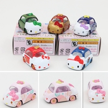 Fashion Cute Kawaii Cartoon Cat Cars Diecast Scale 1:64 Kawaii Action Figures Kitty Models Juguetes Educational SMTWJ730