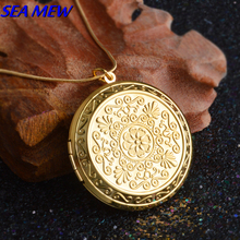 Fashion Lady's Necklace Copper Antique Bronze Silver/Gold Color 44mm Round Photo Locket Pendant Necklace For Women Men ZX70(China)