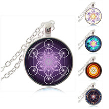 Metatron Cube Pendant Necklace Sacred Geometry Flower of Life Jewelry Chakra Spiritual Necklace Women Magic Hexagram Choker HZ1