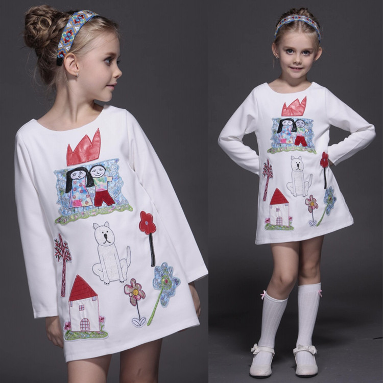 Autumn Spring Winter Girls Dress Embroidery Doodle Korean Foreign Trade Princess White Dress <br>