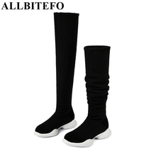ALLBITEFO genuine leather+Stretch fabrics Elastic boots tube winter snow women boots fashion low-heeled over the knee high boots(China)