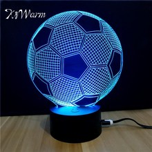 KiWarm Modern 3D Soccer Shape Novelty Light lampada USB LED Table Lamp Bulbing Colorful night light Office House Ornament Craft(China)