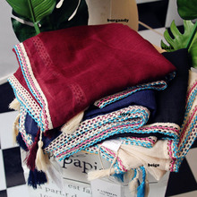 Women Plain Color Crocheted Ribbon Scarf Quality Cotton Tassel Scarf Shawls Wraps Hijabs 4Colors 10pcs/lot(China)