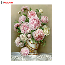 "Huacan,Diamond Embroidery""Flowers""Picture of Rhinestones,Diamond Painting Cross Stitch Peony Full Square Diamond Mosaic Sale"
