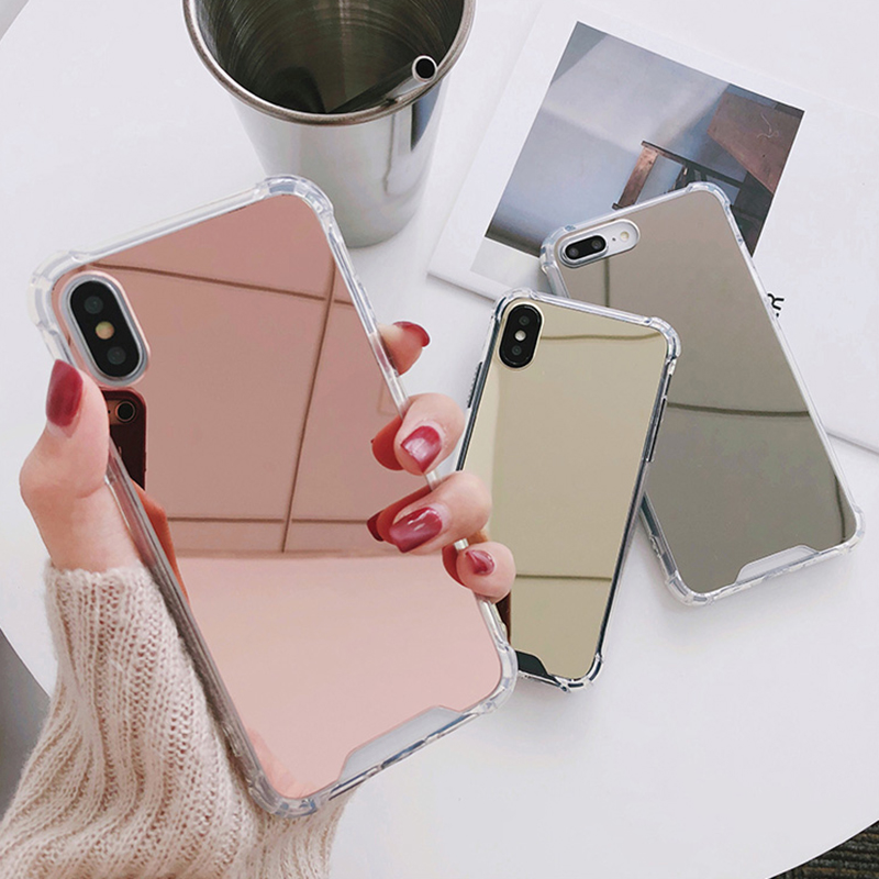 Luxury Mirror case For iphone XS Max XR Cover silicone soft TPU shockproof case for iPhone 6 6s 8 7 plus X coque women makeup (1)