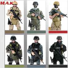 "Movable 5 style 12"" 1/6 SWAT Black Uniform Military Army Combat Game Toys Soldier Set SDU SEALs Action Figure Model Toys E(China)"