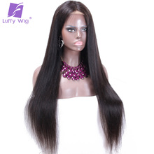 Luffy Indian Silky Straight 13*6 Deep Parting Glueless Lace Front Human Hair Wigs For Black Women With Baby Hair Non-remy Hair(China)