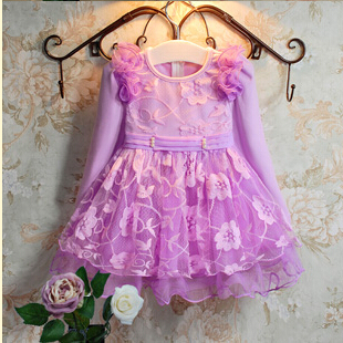 New Fashion Baby Girls Spring Autumn Winter Dresses Girls Party Lace Dresses Children Long Sleeve Thickened Princess Dress<br><br>Aliexpress