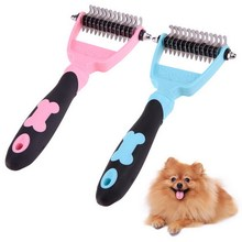 Pet Grooming Rake Dog Cat Hair Fur Shedding Trimmer Double Side Dog Comb Brush Tool Pet Solutions Knot Knife(China)