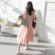 Summer Women dress Loose Solid O-Neck 17 / Place Long Lotus Leaf Minus Age 6542 Dresses Pink Black 1727