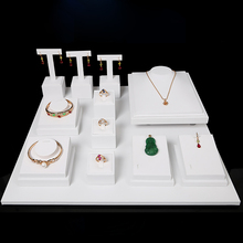High Quality White Leatherette Jewelry Display Props Set Necklace Pendant Bracelet Earring Ring Display Stand Rack Holder